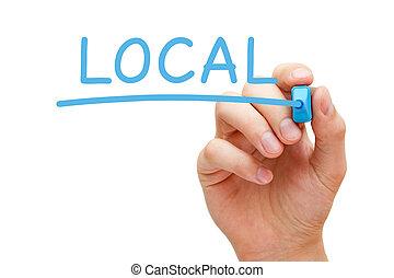 bleu, marqueur, local