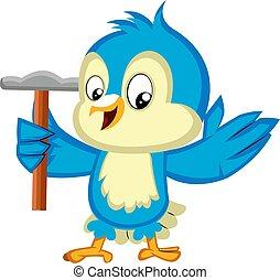 bleu, marteau, illustration, arrière-plan., vecteur, tenue, oiseau blanc