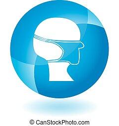 bleu, masque chirurgical, transparent, icône