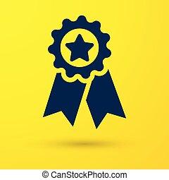 bleu, medal., étoile, signe., gagnant, isolé, illustration, arrière-plan., vecteur, récompense, jaune, médaille, accomplissement, icône