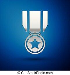 bleu, medal., étoile, signe., gagnant, isolé, récompense, arrière-plan., vecteur, illustration, médaille, argent, accomplissement, icône