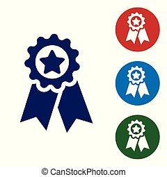 bleu, medal., étoile, signe., gagnant, isolé, récompense, arrière-plan., vecteur, illustration, blanc, médaille, accomplissement, icône