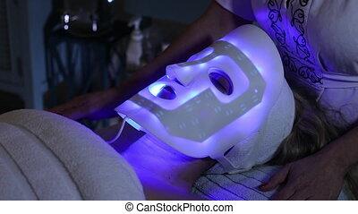 bleu, mené, rajeunissement, lumière, masque, peau