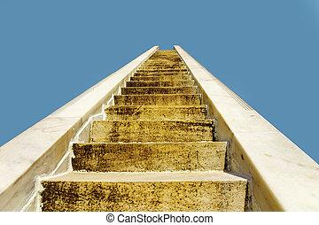 bleu, mener, pierre, ciel, escalier