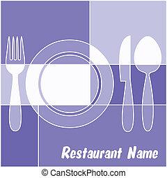 bleu, menu, blanc, restaurant