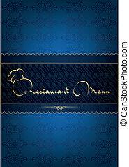 bleu, menu, restaurant