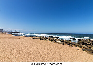 bleu, mer, jetée, ciel, contre, côtier, plage, paysage