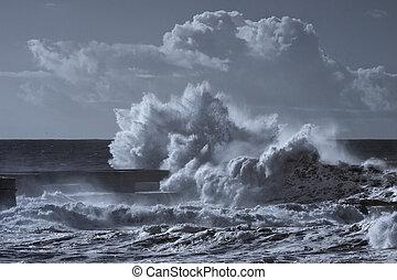 bleu, mer, orage