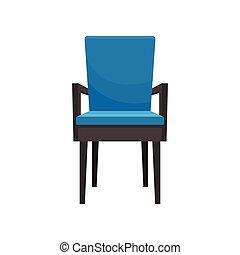 bleu, meubles, fauteuil, illustration, élément, vecteur, fond, intérieur, maison, blanc, confortable