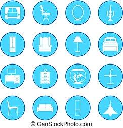 bleu, meubles, icône