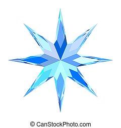 bleu, mignon, étoile, bigarré, stylisé, clair, flocon de neige