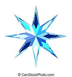 bleu, mignon, étoile, glace, stylisé, clair, flocon de neige