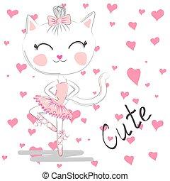 bleu, mignon, amour, danser., ballerine, danse, chat, arrière-plan., robe rose