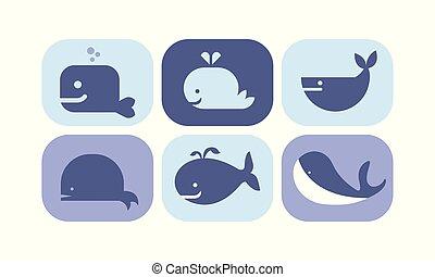 bleu, mignon, animaux, mer, icônes, ensemble, illustration, vecteur, fond, signes, baleine, blanc, créature