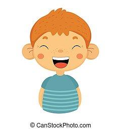 bleu, mignon, bruyant, portrait, garçon, grand, oreilles, t-shirt, dehors, rire, facial, enfant, petit, émotif, mâle, expression, emoji
