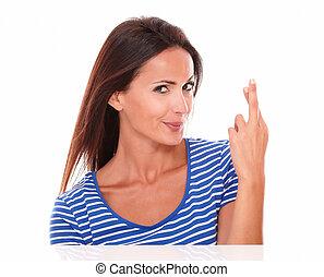 bleu, mignon, chanceux, signe, t-shirt, confection, dame