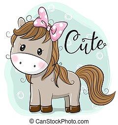 bleu, mignon, cheval, girl, fond