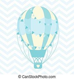 bleu, mignon, chevron, balloon, illustration, air, douche, chaud, fond, bébé
