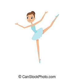 bleu, mignon, danse, ballerine, jeune fille, robe