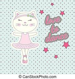 bleu, mignon, danse, chat, arrière-plan., robe rose