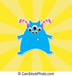 bleu, mignon, dessin animé, monstre
