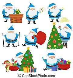 bleu, mignon, différent, ensemble, père noël, coat., émotions, noël, poses., vecteur, caractères, dessin animé