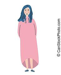 bleu, mignon, entiers, robe, illustration, cheveux, rose, vecteur, croissance, girl