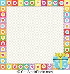 bleu, mignon, fait, cadeau, photo, boîte, corner., emballé, cœurs, frontière