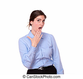 bleu, mignon, femme, chemise, jeune, surpris