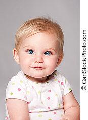 bleu, mignon, figure, observé, bébé, heureux