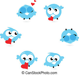 bleu, mignon, gazouillement, isolé, cœurs, blanc, oiseaux, rouges