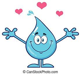 bleu, mignon, goutte, caractère, bras, étreindre, eau, cœurs, ouvert, dessin animé, mascotte