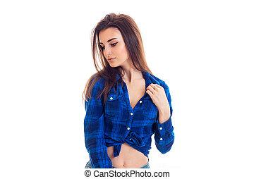 bleu, mignon, gros plan, chemise, jeune, bas, regarde, girl