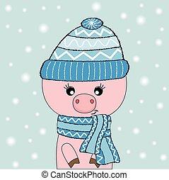 bleu, mignon, isolé, cochon, arrière-plan., rose, chapeau blanc, lunettes