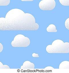 bleu, mignon, nuages, ciel, modèle, seamless, texture, lot, dessin animé