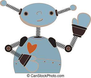bleu, mignon, onduler, robot, dessin animé
