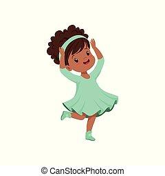 bleu, mignon, peu, danse, lumière, illustration, américain, vecteur, fond, africaine, robe, blanc