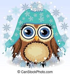 bleu, mignon, peu, hiver, hibou, abri, casquette, long, hibou, oreilles, froid