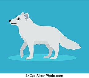 bleu, mignon, plat, polaire, à poil, arctique, ou, renard, isolé, illustration, neige, fond, vecteur, bête, sauvage, icône, style.