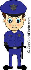 bleu, mignon, police uniforme, officier, mâle, dessin animé
