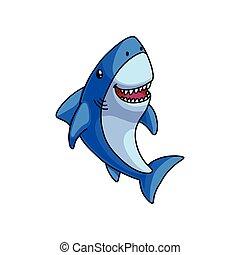 bleu, mignon, requin, coloré, rire, gris, ouverture bouche
