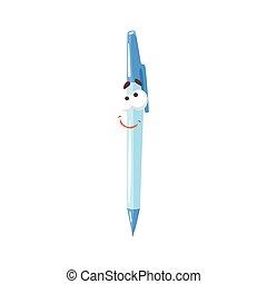 bleu, mignon, rigolote, caractère, illustration, figure, stylo, vecteur, frienfly, comique, humanized, dessin animé