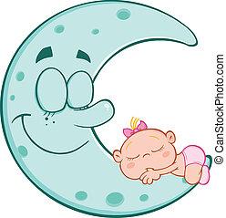 bleu, mignon, sommeils, lune, dorlotez fille