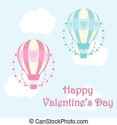 bleu, mignon, valentine, balloon, ciel, illustration, air, chaud rose, fond, jour