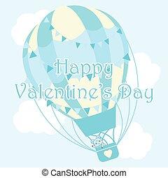 bleu, mignon, valentine, balloon, ciel, ours, air, chaud, illustration, fond, jour