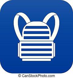 bleu, militaire, sac à dos, icône, numérique