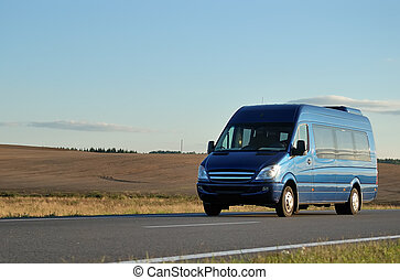bleu, minibus, autoroute