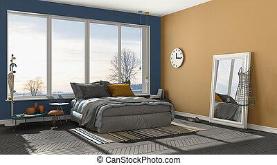 Bleu, minimaliste, coloré, grand, moderne, levers de soleil ...