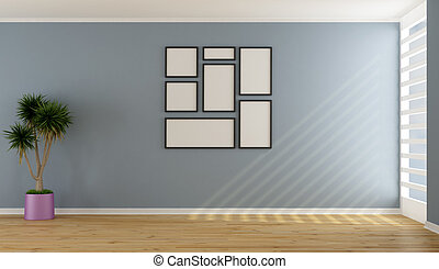 bleu, minimaliste, salle, vide, vivant