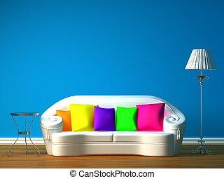 bleu, minimaliste, salle, vivant